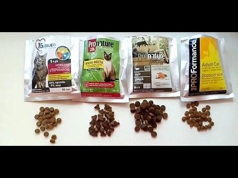 Сравнение кормов для кошек по составу - таблица
